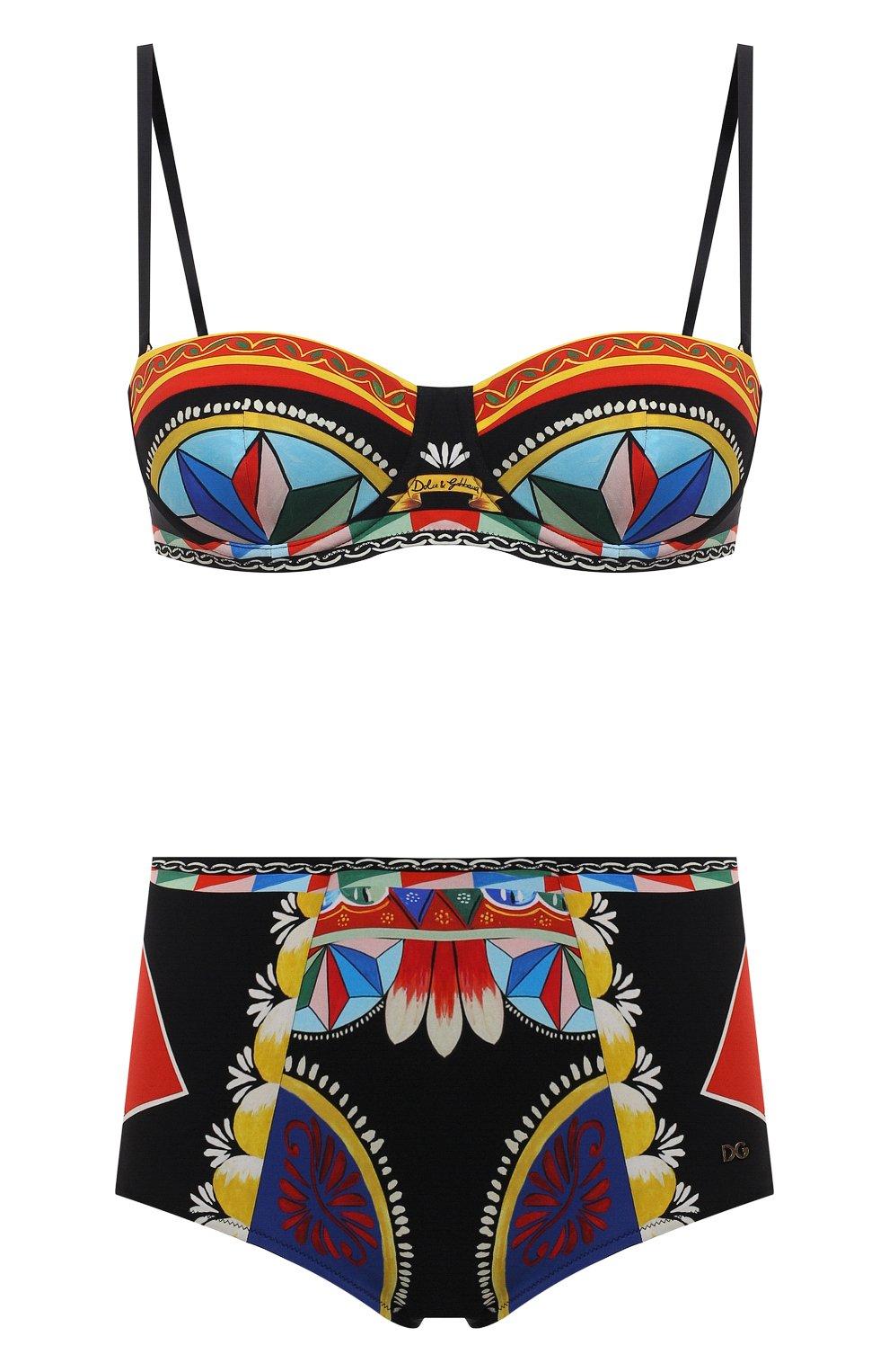 Женский раздельный купальник DOLCE & GABBANA черного цвета, арт. 08A27J/FPG57   Фото 1