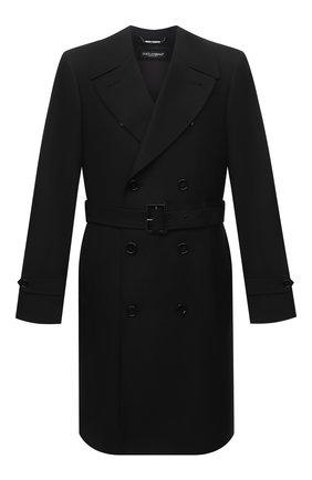 Мужской тренч DOLCE & GABBANA черного цвета, арт. G021CT/HUMJM | Фото 1 (Материал внешний: Синтетический материал, Шерсть; Длина (верхняя одежда): До колена; Рукава: Длинные; Стили: Кэжуэл; Материал подклада: Вискоза; Мужское Кросс-КТ: Тренчкот-верхняя одежда)
