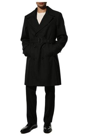 Мужской тренч DOLCE & GABBANA черного цвета, арт. G021CT/HUMJM   Фото 2 (Материал внешний: Синтетический материал, Шерсть; Длина (верхняя одежда): До колена; Рукава: Длинные; Стили: Кэжуэл; Материал подклада: Вискоза; Мужское Кросс-КТ: Тренчкот-верхняя одежда)