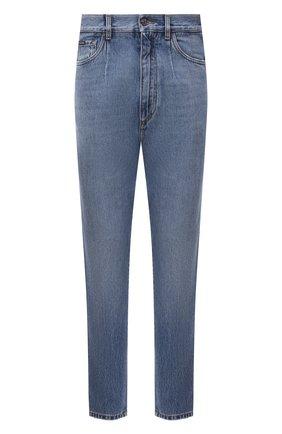 Мужские джинсы DOLCE & GABBANA голубого цвета, арт. GWSXXD/G8EH5 | Фото 1 (Материал внешний: Хлопок; Длина (брюки, джинсы): Стандартные; Силуэт М (брюки): Прямые; Стили: Кэжуэл; Кросс-КТ: Деним; Детали: Потертости)