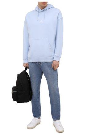 Мужские джинсы DOLCE & GABBANA голубого цвета, арт. GWSXXD/G8EH5 | Фото 2 (Материал внешний: Хлопок; Длина (брюки, джинсы): Стандартные; Силуэт М (брюки): Прямые; Стили: Кэжуэл; Кросс-КТ: Деним; Детали: Потертости)