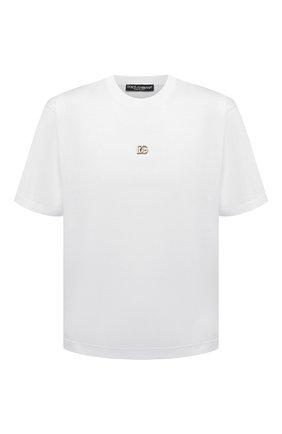 Мужская хлопковая футболка DOLCE & GABBANA белого цвета, арт. G8NC5Z/G7A0W | Фото 1