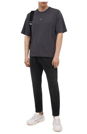 Мужская хлопковая футболка DOLCE & GABBANA темно-серого цвета, арт. G8NC5Z/G7A0W | Фото 2