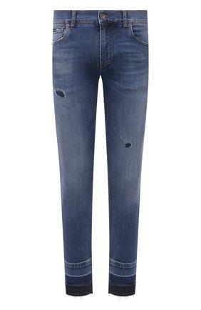 Мужские джинсы DOLCE & GABBANA синего цвета, арт. GYC4LD/G8EE0 | Фото 1 (Материал внешний: Хлопок; Длина (брюки, джинсы): Стандартные; Силуэт М (брюки): Узкие; Стили: Гранж; Кросс-КТ: Деним; Детали: Потертости)
