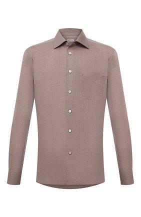 Мужская хлопковая рубашка KITON светло-коричневого цвета, арт. UMCNERH0780116 | Фото 1
