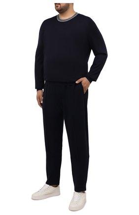 Мужские брюки из кашемира и хлопка BRUNELLO CUCINELLI темно-синего цвета, арт. MTU013212W | Фото 2