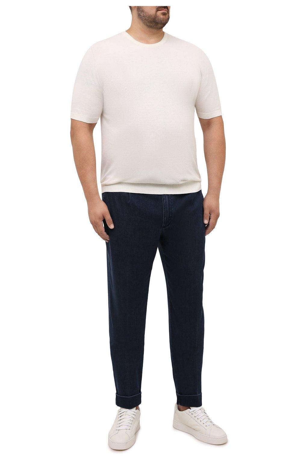 Мужские джинсы CORTIGIANI темно-синего цвета, арт. 213538/0000/3270/60-70   Фото 2 (Big sizes: Big Sizes; Силуэт М (брюки): Прямые; Кросс-КТ: Деним; Длина (брюки, джинсы): Стандартные; Стили: Классический; Материал внешний: Растительное волокно)