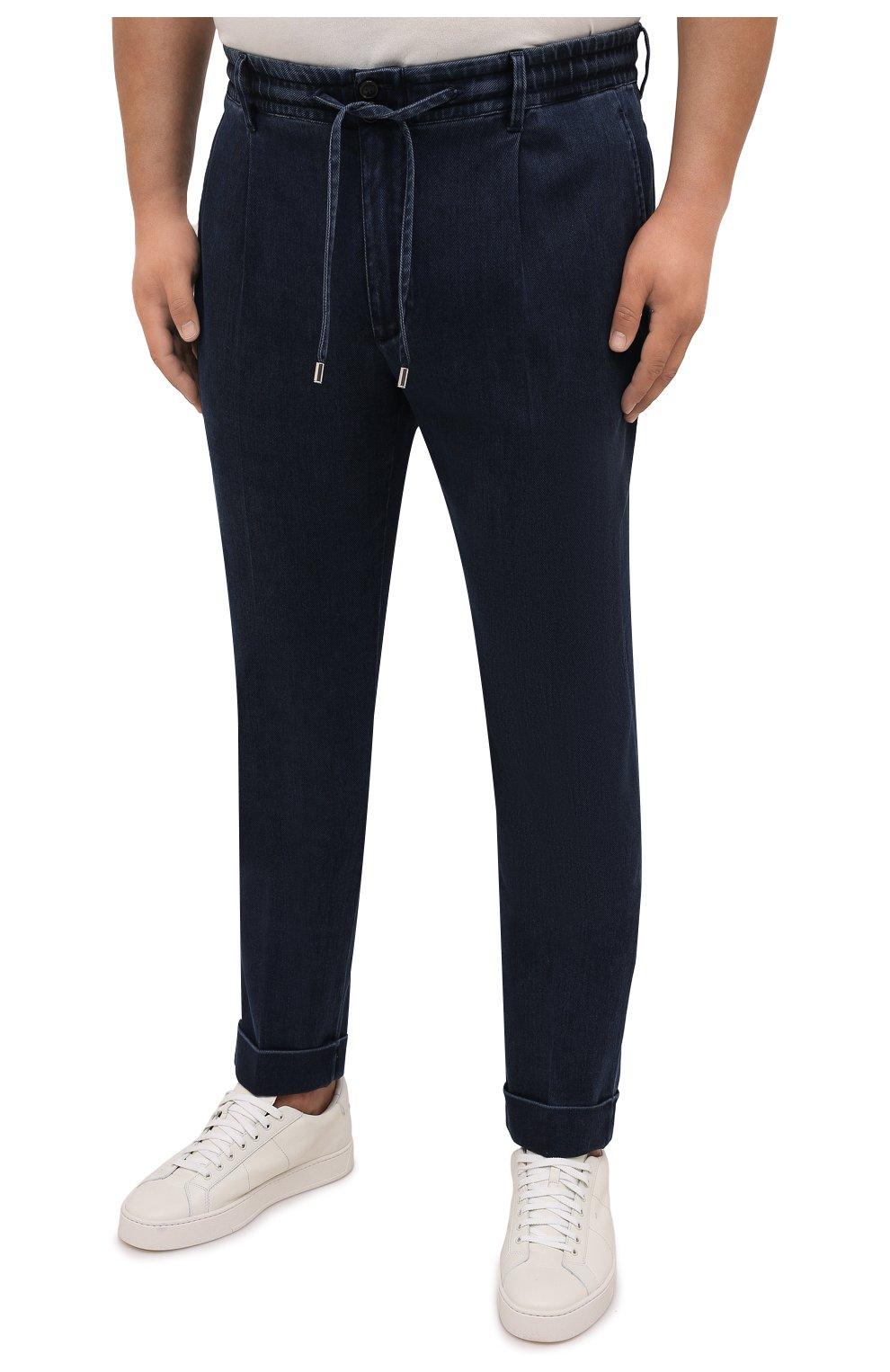 Мужские джинсы CORTIGIANI темно-синего цвета, арт. 213538/0000/3270/60-70   Фото 3 (Big sizes: Big Sizes; Силуэт М (брюки): Прямые; Кросс-КТ: Деним; Длина (брюки, джинсы): Стандартные; Стили: Классический; Материал внешний: Растительное волокно)