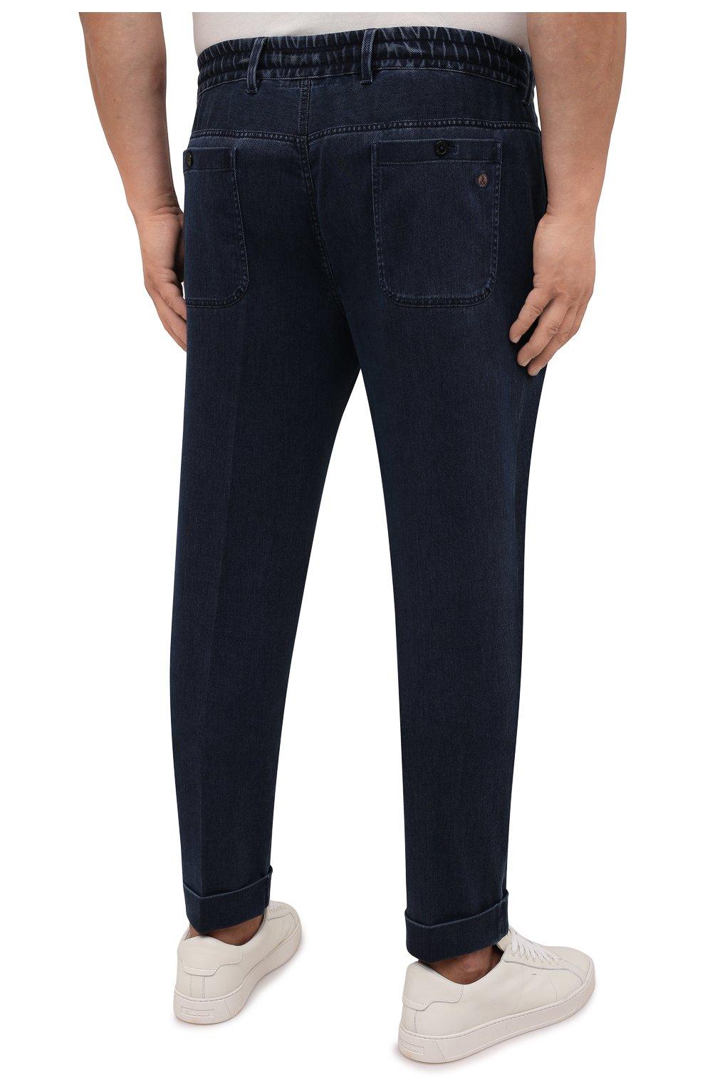 Мужские джинсы CORTIGIANI темно-синего цвета, арт. 213538/0000/3270/60-70   Фото 4 (Big sizes: Big Sizes; Силуэт М (брюки): Прямые; Кросс-КТ: Деним; Длина (брюки, джинсы): Стандартные; Стили: Классический; Материал внешний: Растительное волокно)