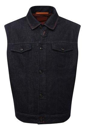 Мужской джинсовый жилет CORTIGIANI темно-синего цвета, арт. 218501/0000/4950/60-70 | Фото 1