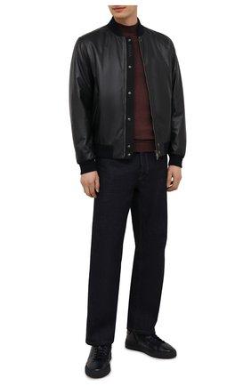 Мужские кожаные кеды SANTONI темно-синего цвета, арт. MBGT21556T0CRG0NU60 | Фото 2