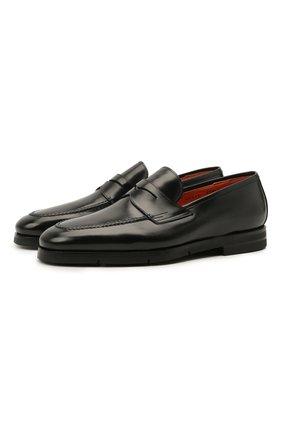Мужские кожаные пенни-лоферы SANTONI черного цвета, арт. MCCG15609SI5EVRTN01 | Фото 1