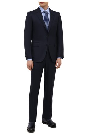 Мужские кожаные монки SANTONI темно-синего цвета, арт. MCCG17746MD3HFULU59 | Фото 2 (Материал внутренний: Натуральная кожа; Стили: Классический)