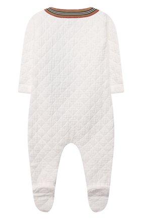 Детский хлопковый комбинезон BURBERRY белого цвета, арт. 8041096/9M | Фото 2