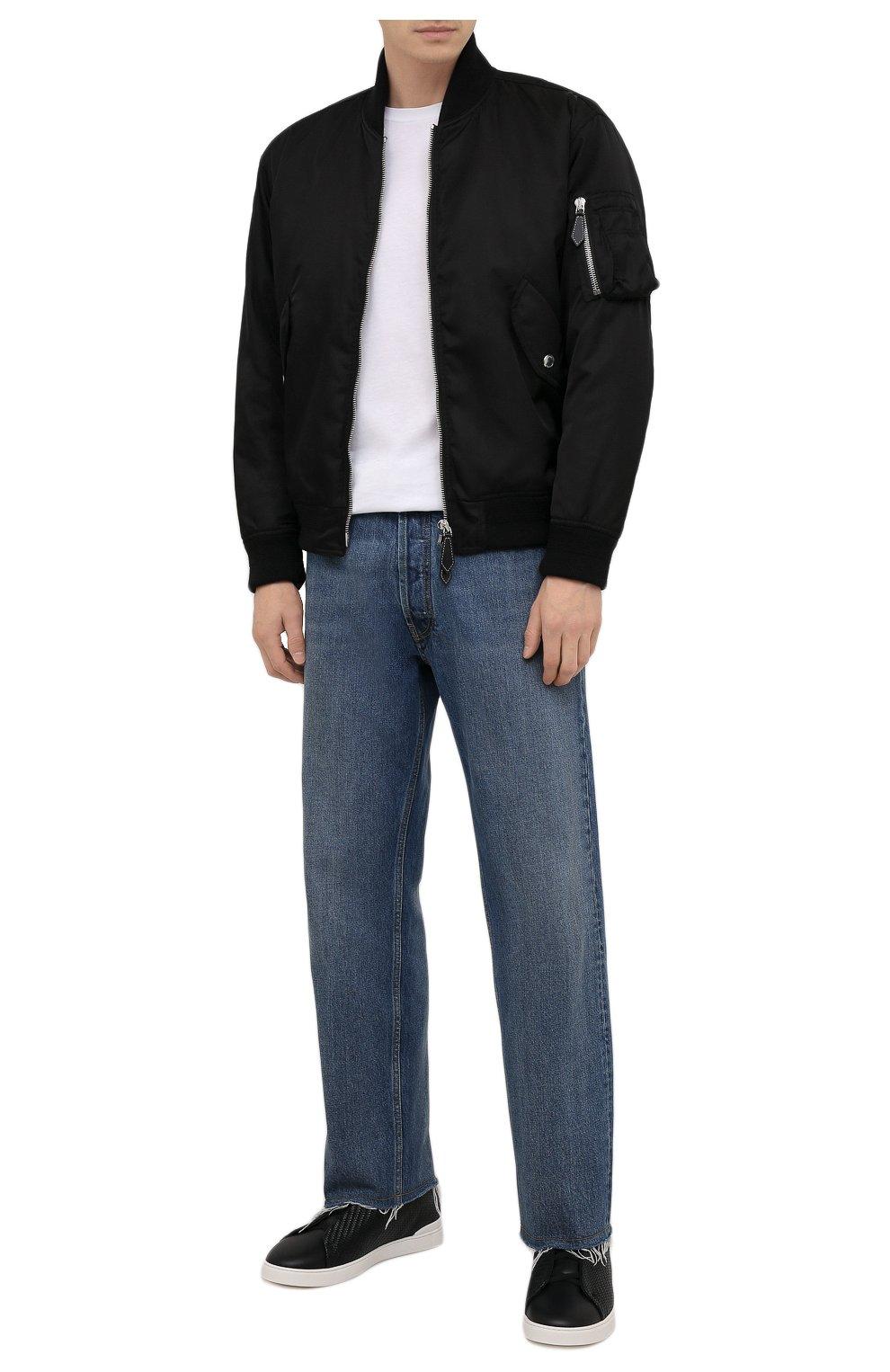 Мужские кожаные кеды triple stitch ZEGNA COUTURE черного цвета, арт. A4665X-LHSPT | Фото 2 (Материал внутренний: Натуральная кожа; Подошва: Массивная)