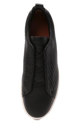 Мужские кожаные кеды triple stitch ZEGNA COUTURE черного цвета, арт. A4665X-LHSPT | Фото 5 (Материал внутренний: Натуральная кожа; Подошва: Массивная)