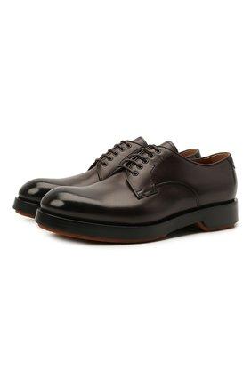 Мужские кожаные дерби ZEGNA COUTURE темно-коричневого цвета, арт. A4562X-LHHRS | Фото 1