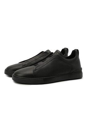 Мужские кожаные кеды triple stitch ZEGNA COUTURE черного цвета, арт. A4667X-LHCV0 | Фото 1