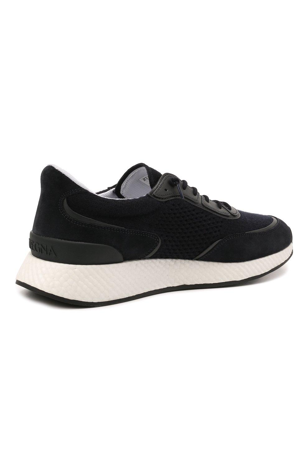 Мужские комбинированные кроссовки piuma Z ZEGNA темно-синего цвета, арт. A5107X-LHCB0   Фото 4 (Материал внешний: Текстиль; Материал внутренний: Текстиль; Подошва: Массивная)