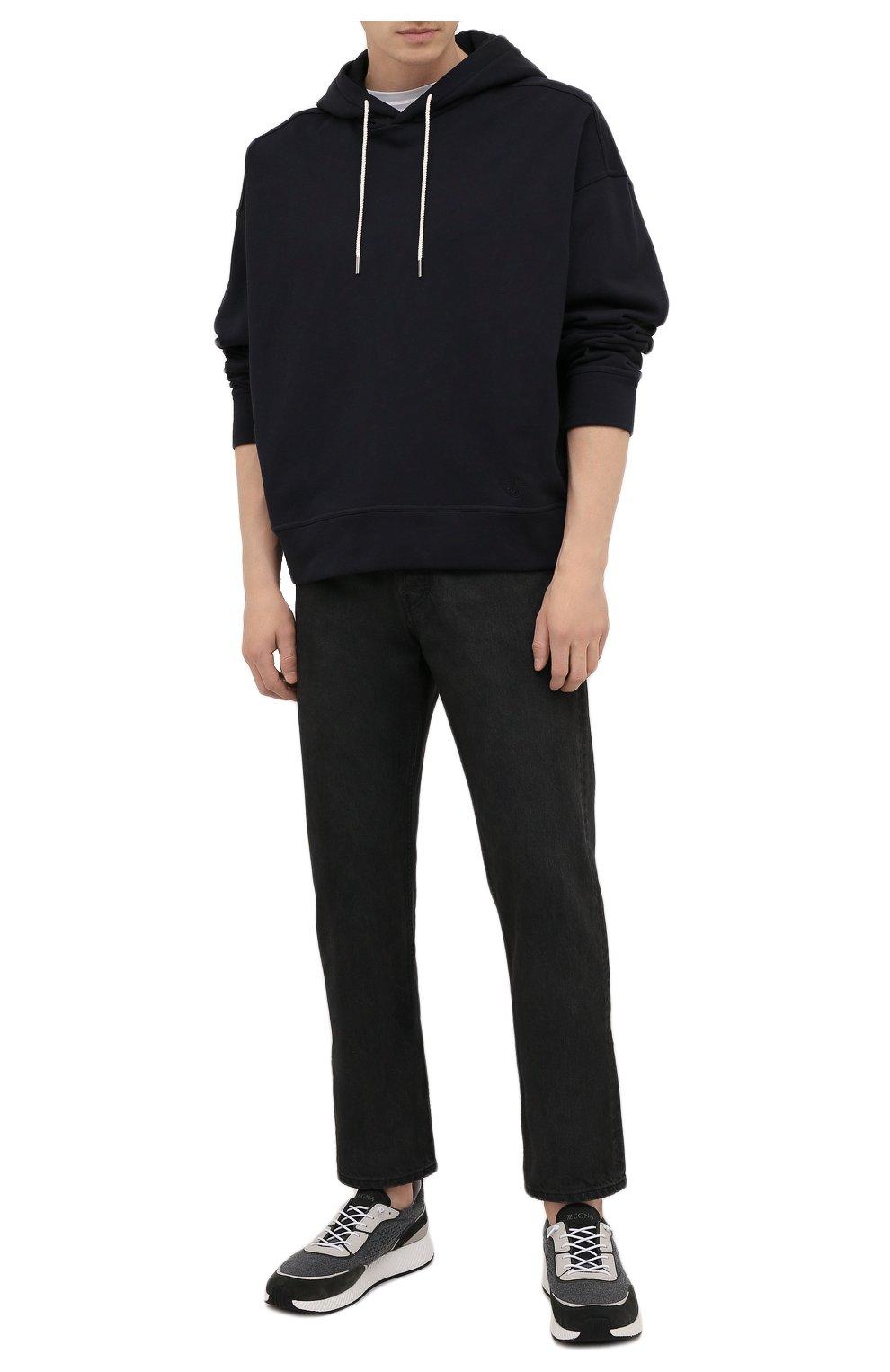 Мужские комбинированные кроссовки piuma Z ZEGNA серого цвета, арт. A5107X-LHCB0 | Фото 2 (Материал внешний: Текстиль; Материал внутренний: Текстиль; Подошва: Массивная)
