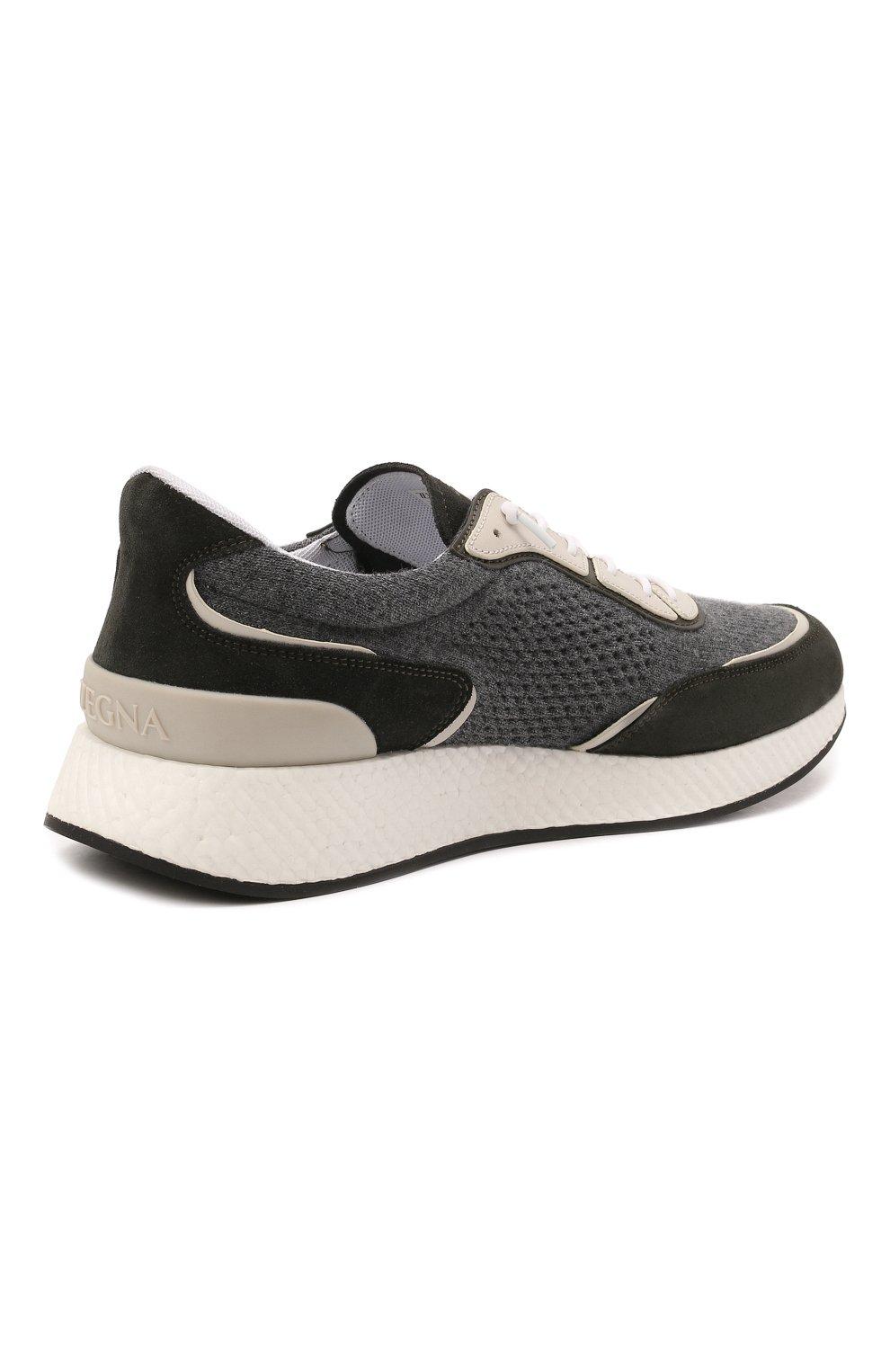 Мужские комбинированные кроссовки piuma Z ZEGNA серого цвета, арт. A5107X-LHCB0 | Фото 4 (Материал внешний: Текстиль; Материал внутренний: Текстиль; Подошва: Массивная)