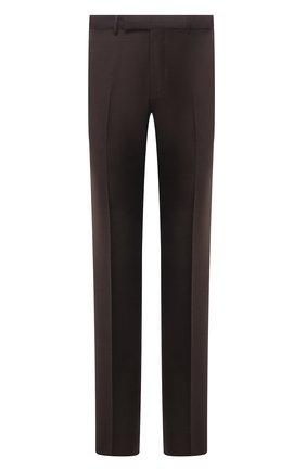 Мужские шерстяные брюки ERMENEGILDO ZEGNA коричневого цвета, арт. 228F13/75SB12 | Фото 1 (Длина (брюки, джинсы): Стандартные; Материал внешний: Шерсть; Материал подклада: Вискоза; Случай: Формальный; Стили: Классический)