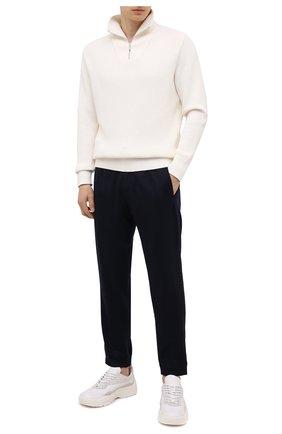 Мужские шерстяные джоггеры ERMENEGILDO ZEGNA темно-синего цвета, арт. UVI11/TT12 | Фото 2 (Материал внешний: Шерсть; Длина (брюки, джинсы): Стандартные; Мужское Кросс-КТ: Брюки-трикотаж; Стили: Спорт-шик; Силуэт М (брюки): Джоггеры)