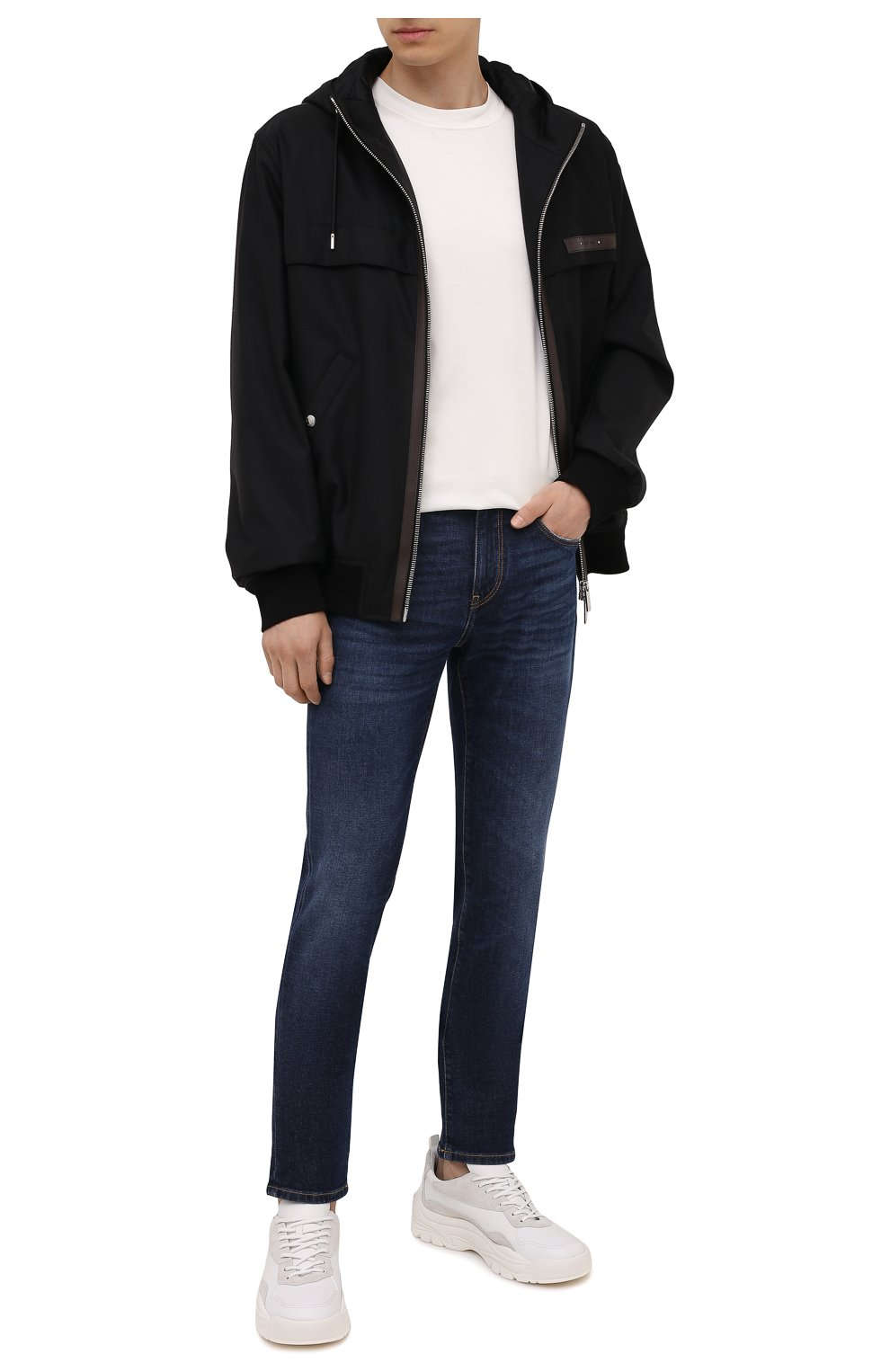 Мужские джинсы Z ZEGNA темно-синего цвета, арт. VY771/ZZ530 | Фото 2 (Силуэт М (брюки): Прямые; Длина (брюки, джинсы): Стандартные; Материал внешний: Хлопок; Стили: Кэжуэл)