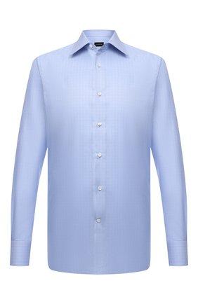 Мужская хлопковая сорочка ERMENEGILDO ZEGNA голубого цвета, арт. 201305/9MS0PA | Фото 1
