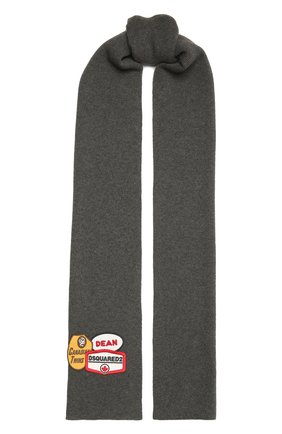 Мужской шерстяной шарф DSQUARED2 серого цвета, арт. KNM0011 01W04331 | Фото 1 (Материал: Шерсть)