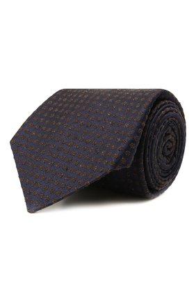 Мужской галстук из шелка и шерсти KITON темно-синего цвета, арт. UCRVKLC08G26 | Фото 1 (Материал: Шерсть, Текстиль; Принт: С принтом)