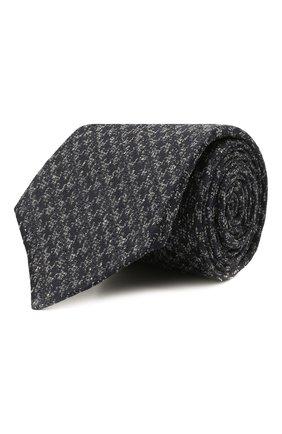 Мужской галстук из шелка и шерсти KITON темно-синего цвета, арт. UCRVKLC08G19 | Фото 1 (Материал: Текстиль, Шелк; Принт: С принтом)