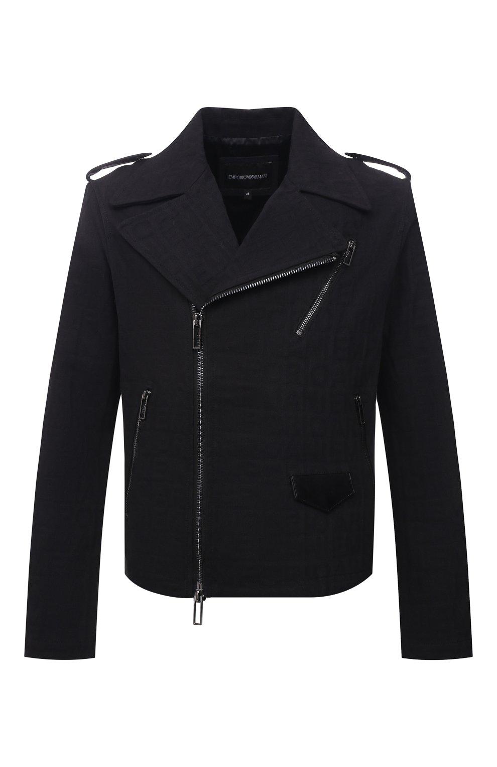 Мужская хлопковая куртка EMPORIO ARMANI черного цвета, арт. 6K1B65/1DE9Z   Фото 1 (Кросс-КТ: Куртка, Ветровка; Рукава: Длинные; Материал внешний: Хлопок; Материал подклада: Синтетический материал; Длина (верхняя одежда): Короткие; Стили: Кэжуэл)