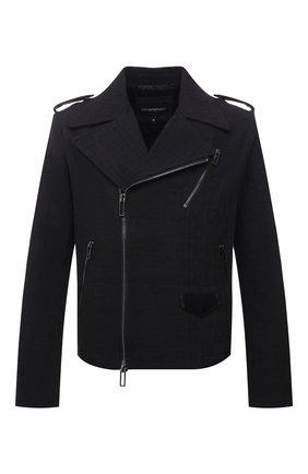 Мужская хлопковая куртка EMPORIO ARMANI черного цвета, арт. 6K1B65/1DE9Z | Фото 1 (Рукава: Длинные; Материал внешний: Хлопок; Длина (верхняя одежда): Короткие; Материал подклада: Синтетический материал; Кросс-КТ: Куртка, Ветровка; Стили: Кэжуэл)