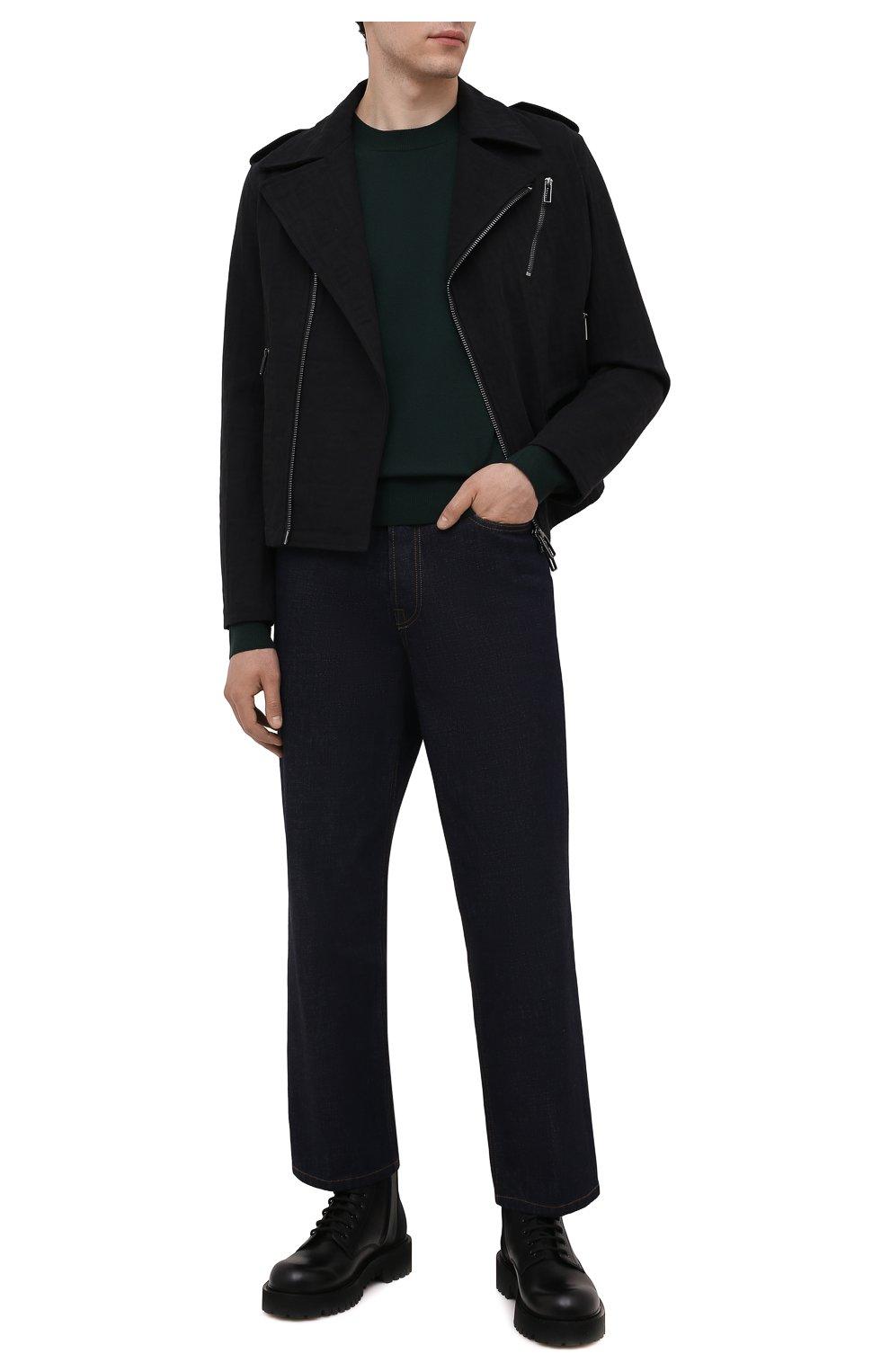 Мужская хлопковая куртка EMPORIO ARMANI черного цвета, арт. 6K1B65/1DE9Z   Фото 2 (Кросс-КТ: Куртка, Ветровка; Рукава: Длинные; Материал внешний: Хлопок; Материал подклада: Синтетический материал; Длина (верхняя одежда): Короткие; Стили: Кэжуэл)