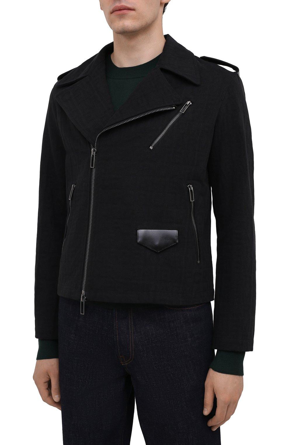 Мужская хлопковая куртка EMPORIO ARMANI черного цвета, арт. 6K1B65/1DE9Z   Фото 3 (Кросс-КТ: Куртка, Ветровка; Рукава: Длинные; Материал внешний: Хлопок; Материал подклада: Синтетический материал; Длина (верхняя одежда): Короткие; Стили: Кэжуэл)