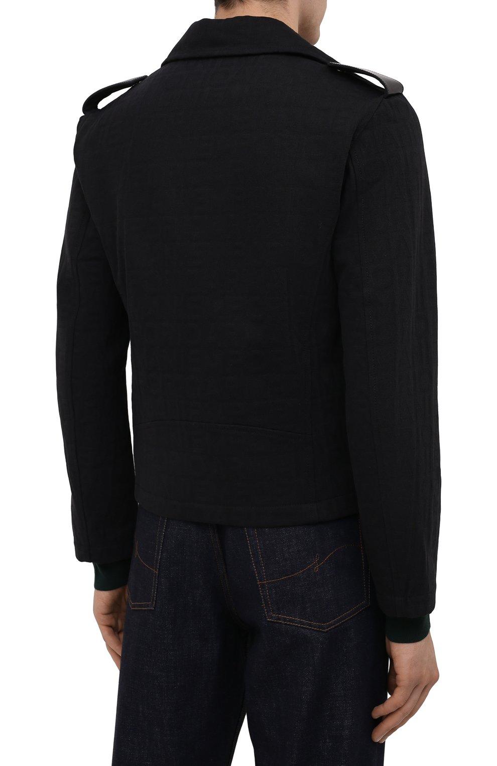 Мужская хлопковая куртка EMPORIO ARMANI черного цвета, арт. 6K1B65/1DE9Z   Фото 4 (Кросс-КТ: Куртка, Ветровка; Рукава: Длинные; Материал внешний: Хлопок; Материал подклада: Синтетический материал; Длина (верхняя одежда): Короткие; Стили: Кэжуэл)