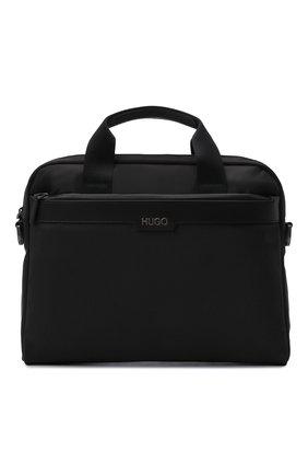 Мужская сумка для ноутбука HUGO черного цвета, арт. 50452956 | Фото 1 (Ремень/цепочка: На ремешке; Материал: Текстиль)