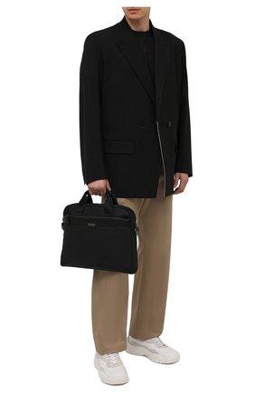 Мужская сумка для ноутбука HUGO черного цвета, арт. 50452956 | Фото 2 (Ремень/цепочка: На ремешке; Материал: Текстиль)