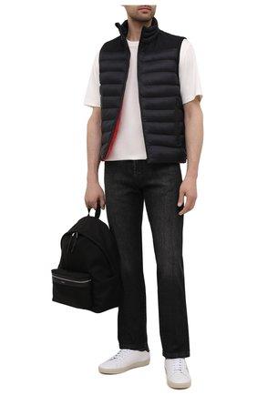 Мужской утепленный жилет HUGO черного цвета, арт. 50452854 | Фото 2 (Материал внешний: Синтетический материал; Кросс-КТ: Куртка, Пуховик; Длина (верхняя одежда): Короткие; Стили: Кэжуэл)