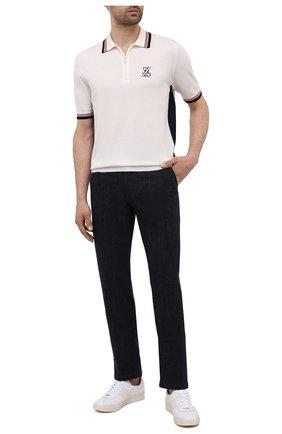 Мужское поло из хлопка и шелка ZILLI белого цвета, арт. MBV-PZ012-CREP1/MC01 | Фото 2