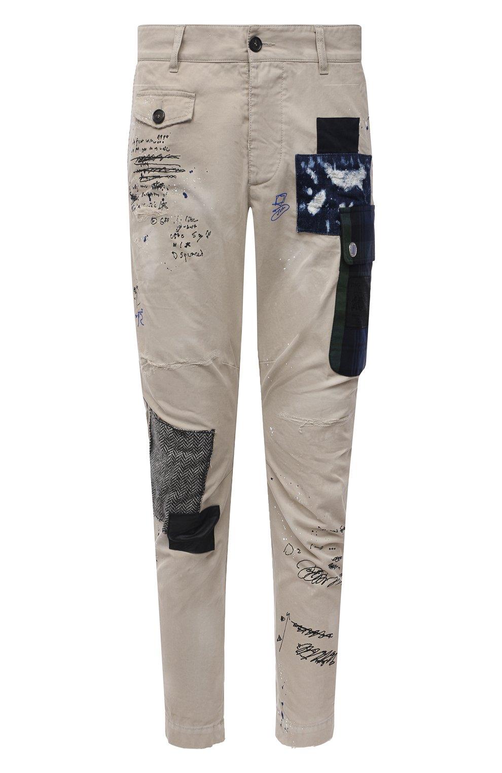 Мужские хлопковые брюки DSQUARED2 бежевого цвета, арт. S74KB0577/S41794 | Фото 1 (Длина (брюки, джинсы): Стандартные; Случай: Повседневный; Стили: Гранж; Материал внешний: Хлопок)