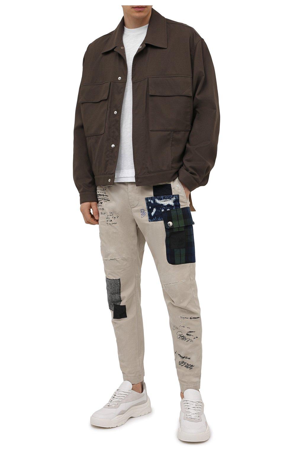 Мужские хлопковые брюки DSQUARED2 бежевого цвета, арт. S74KB0577/S41794 | Фото 2 (Длина (брюки, джинсы): Стандартные; Случай: Повседневный; Стили: Гранж; Материал внешний: Хлопок)