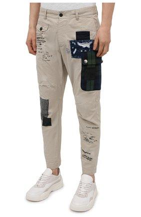 Мужские хлопковые брюки DSQUARED2 бежевого цвета, арт. S74KB0577/S41794 | Фото 3 (Длина (брюки, джинсы): Стандартные; Случай: Повседневный; Стили: Гранж; Материал внешний: Хлопок)