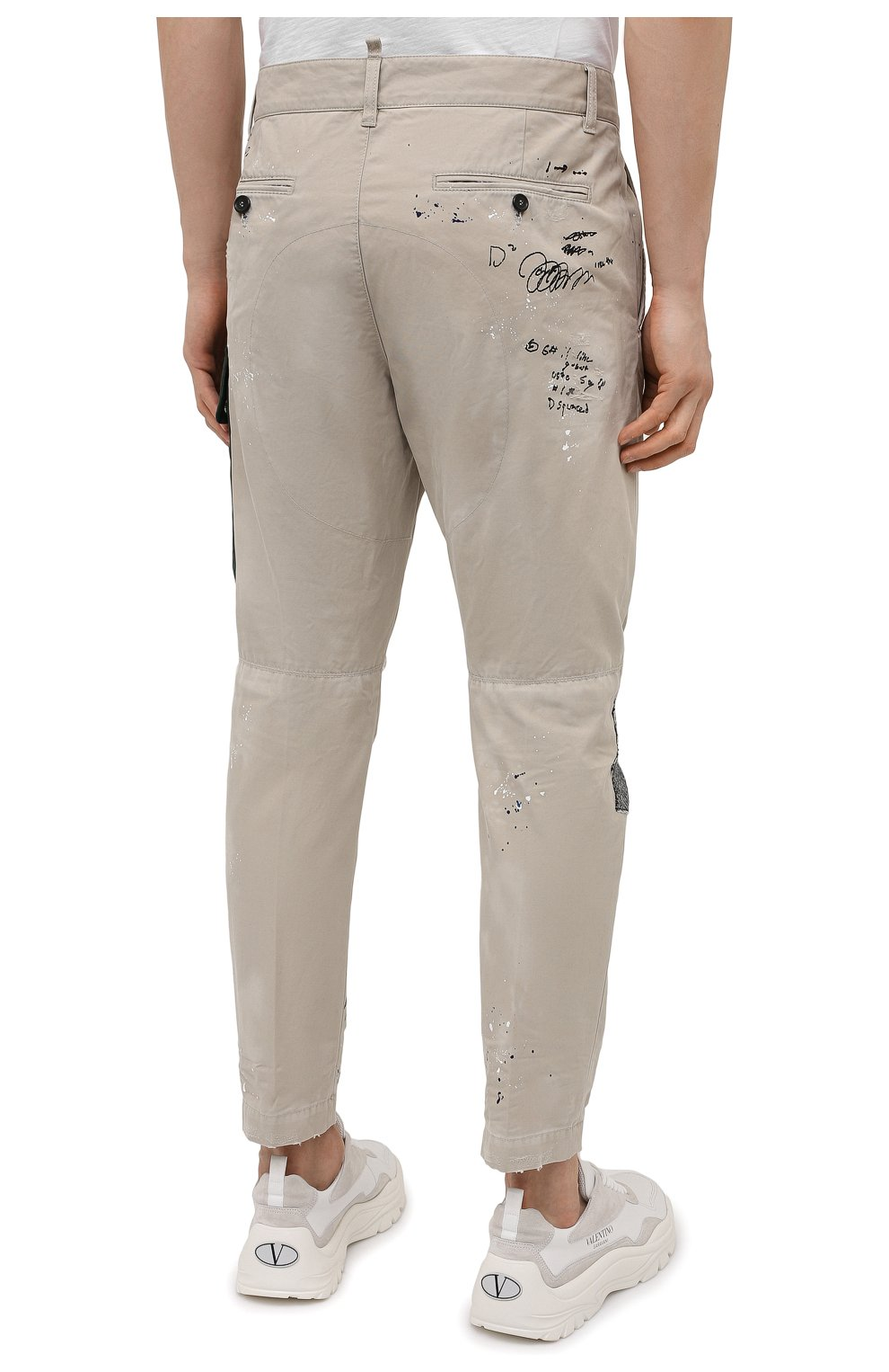 Мужские хлопковые брюки DSQUARED2 бежевого цвета, арт. S74KB0577/S41794 | Фото 4 (Длина (брюки, джинсы): Стандартные; Случай: Повседневный; Стили: Гранж; Материал внешний: Хлопок)