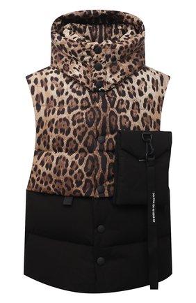 Мужской пуховый жилет DOLCE & GABBANA леопардового цвета, арт. G9VL8Z/G7YU0 | Фото 1