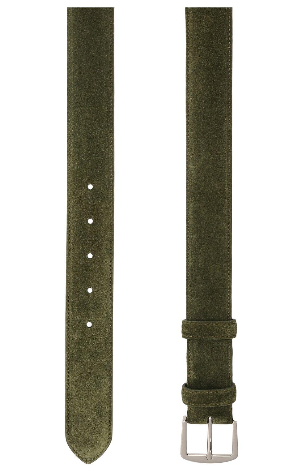 Мужской замшевый ремень LORO PIANA зеленого цвета, арт. FAA1544 | Фото 2