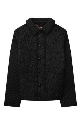 Детского утепленная куртка BURBERRY черного цвета, арт. 8036682 | Фото 1
