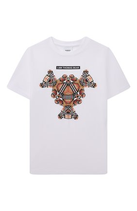 Детская хлопковая футболка BURBERRY белого цвета, арт. 8041229 | Фото 1