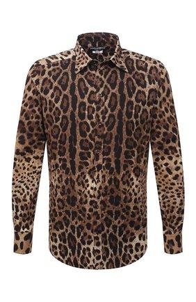 Мужская хлопковая рубашка DOLCE & GABBANA леопардового цвета, арт. G5IY0T/HS5E3 | Фото 1 (Длина (для топов): Стандартные; Рукава: Длинные; Материал внешний: Хлопок; Стили: Гламурный; Случай: Повседневный; Рубашки М: Regular Fit; Манжеты: На пуговицах; Принт: С принтом; Воротник: Кент)